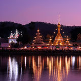 Wat Chong Klang and Wat Chong Kham at dusk. Mae Hong Son, Northe Royalty Free Stock Image