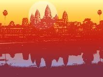 Wat de Angkor no por do sol ilustração do vetor