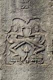 Wat de pedra cambodia do angkor dos carvings do Khmer fotografia de stock