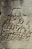 Wat de pedra cambodia do angkor dos carvings do Khmer fotos de stock