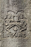 Wat de piedra Camboya del angkor de las tallas del Khmer Fotografía de archivo