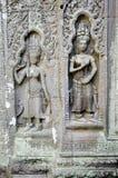 Wat de piedra Camboya del angkor de las tallas del Khmer Foto de archivo libre de regalías