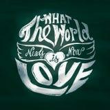 Wat de wereldbehoeften nu liefde het van letters voorzien kunst in cirkel is Royalty-vrije Stock Foto