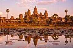 wat för angkorcambodia solnedgång Fotografering för Bildbyråer