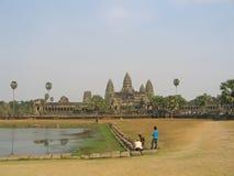 wat för angkorcambodia tempel Arkivfoton