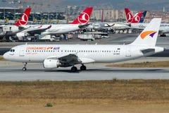 5A-WAT Ghadames Lufttransport, Airbus A320-211 Lizenzfreie Stockbilder