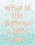Wat het Leven zonder wat Kleur is Stock Fotografie