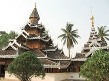 Wat Hua Wiang temple, 19th century Burmese style wooden viharn. stock photo