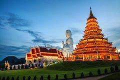 Wat Huai Pla Kung Temple at sunset in Chinag Rai, Thailand. Chiang Rai, Thailand. Wat Huai Pla Kung Temple at sunset in Chinag Rai, Thailand. Illuminated Buddha Royalty Free Stock Photography