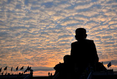 Wat Huay Mongkol bij zonsondergang Stock Foto