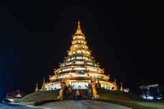 Huai Pla Kang Temple, Chedi Chao Pho at night. Wat Huay Pla Kang, beaufiful chedi pagoda at night, Chinese temple in Chiang Rai Province, northern of Thailand stock photography