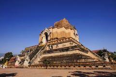 Wat Jedi Luang Temple är den genomsnittliga stora pagodtemplet den forntida templet i Chiagmai royaltyfri foto
