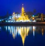 Wat Jong Klang τη νύχτα στο βόρειο τμήμα της Ταϊλάνδης Στοκ Εικόνες