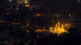 Wat Jong Klang from bird eye view, during dark night period, pre Royalty Free Stock Photos