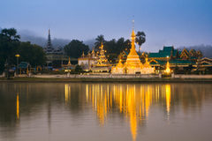 Wat Jong Klang in the dawn Royalty Free Stock Photos
