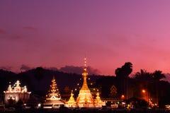 Wat Jong Klang at dusk. Twilight time at Wat Jong Klang and Wat Jong Kham, Mae Hong Son province, northern part of Thailand. Long Exposure royalty free stock photography