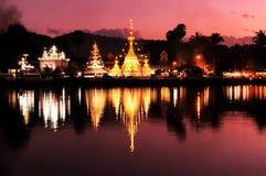 Wat Jong Klang at dusk. Twilight time at Wat Jong Klang and Wat Jong Kham, Mae Hong Son province, northern part of Thailand. Long Exposure royalty free stock photo
