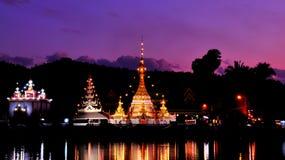 Wat Jong Klang at dusk. Twilight time at Wat Jong Klang and Wat Jong Kham, Mae Hong Son province, northern part of Thailand. Long Exposure royalty free stock photos