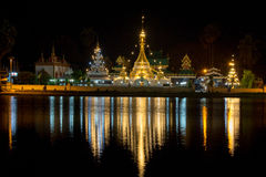 Wat Jong Klang Temple at night in Thailand Stock Image