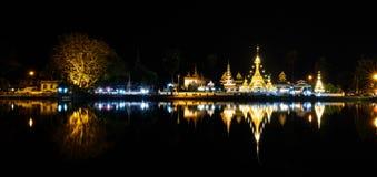 Wat Jong Klang and Wat Jong Kham at night in Mae Hong Son provin Stock Photography