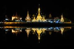 Wat Jong Klang and Wat Jong Kham at night in Mae Hong Son provin Royalty Free Stock Photography
