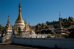 Wat Jong Klang and Wat Jong Kham temple, Mae Hong Son City, Nort Stock Photos