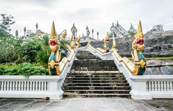 Wat Kaew Korawaram. Stairway going to the Wat Kaew Korawaram at krabi town overlooking the river and town. place worship Royalty Free Stock Photos
