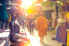 Wat Kalayanamit Woramahawiharn are Royal buddha temple in Bangko Stock Photos
