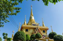 Wat Kiriwong Nakhon Sawan. The golden temple was built and located on the top of mountain Stock Photo