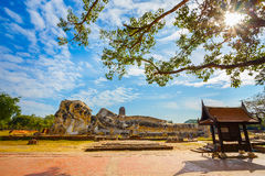 Wat Lokayasutharam Temple in Ayuthaya Historical Park, a UNESCO world heritage site, Royalty Free Stock Photography