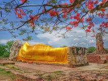 Wat-lokkayasutha. Ayuttaya Thailand temple RecliningBuddha royalty free stock photos