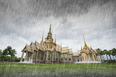 Wat Luang Pho Toh temple with falling rain in Nakhon Ratchasima, Royalty Free Stock Images
