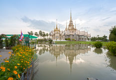 Wat Luang Pho Toh temple with water reflection at Nakhon Ratchas Royalty Free Stock Photo
