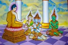 Wat Machimmaram wall decoration buddhist deities in Tumpat Mala stock image