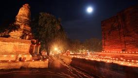 Wat Mahaeyong con la Luna Llena en Ayutthaya Fotografía de archivo libre de regalías