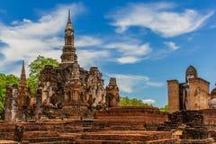 Wat Mahatat nel parco storico Tailandia di Sukhothai Fotografia Stock Libera da Diritti
