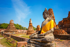 Wat Mahathat寺庙在Ayuthaya历史公园,泰国 库存图片