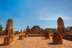Wat Mahathat寺庙在Ayuthaya历史公园,泰国 免版税图库摄影
