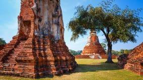 Wat Mahathat寺庙在Ayuthaya历史公园,泰国 免版税库存照片