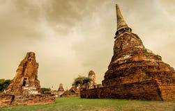 Wat Mahathat寺庙废墟, Ayuthaya,泰国 免版税图库摄影