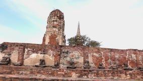 Wat Mahathat, ιστορικός παλαιός ναός Ayutthaya απόθεμα βίντεο