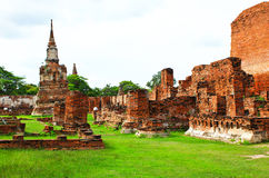 Wat Mahathat ancient Ayutthaya period Royalty Free Stock Image