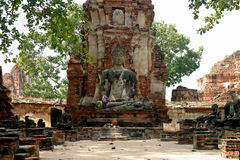 Wat Mahathat in Ayutthaya Royalty-vrije Stock Afbeelding