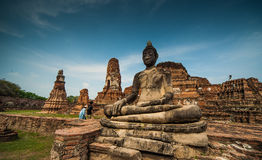Wat Mahathat. Is Wat in Ayutthaya historical park.Which is the residence of the Somdet Phra Sangkharat Royalty Free Stock Photo