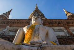 Wat Mahathat Ayutthaya som är forntida av Thailand Royaltyfria Bilder
