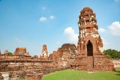 Wat Mahathat buddistisk tempel i staden av Ayutthaya Historica Royaltyfri Fotografi