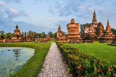 Wat Mahathat, the old city of Sukhothai, Thailanda Stock Image