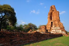 Wat Mahathat, a ruined ancient Buddhist temple with blue sky Royalty Free Stock Image