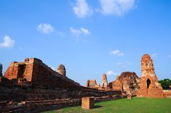 Wat Mahathat, a ruined ancient Buddhist temple with blue sky Stock Image