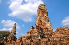 Wat Mahathat, a ruined ancient Buddhist temple with blue sky Stock Photo